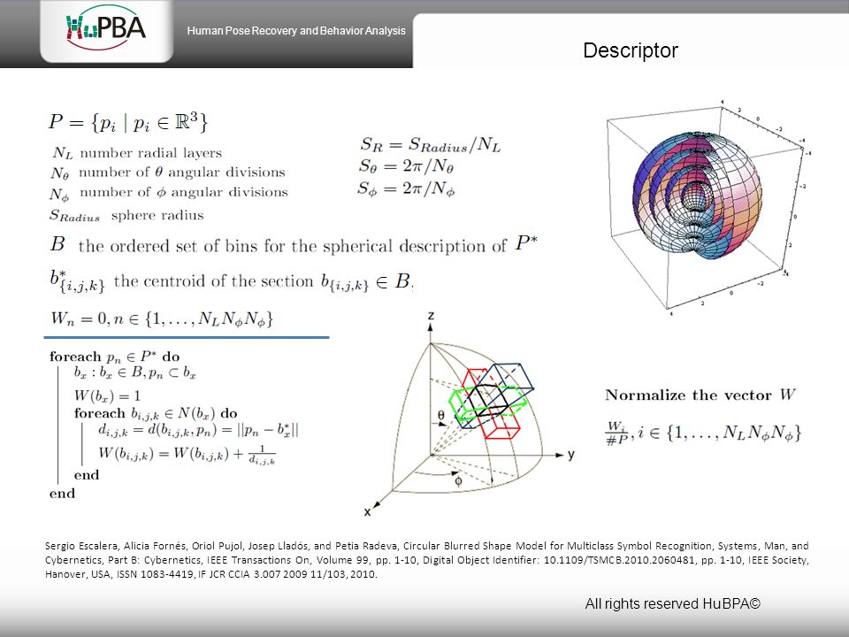 Descriptor All rights reserved HuBPA© Human Pose Recovery and Behavior Analysis Sergio Escalera, Alicia Fornés, Oriol Pujol, Josep Lladós, and Petia Radeva, Circular Blurred Shape Model for Multiclass Symbol Recognition, Systems, Man, and Cybernetics, Part B: Cybernetics, IEEE Transactions On, Volume 99, pp.