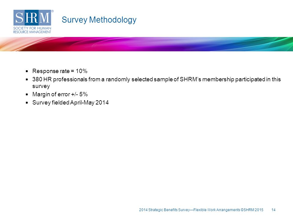 14 Survey Methodology Response rate = 10% 380 HR professionals from a randomly selected sample of SHRM's membership participated in this survey Margin