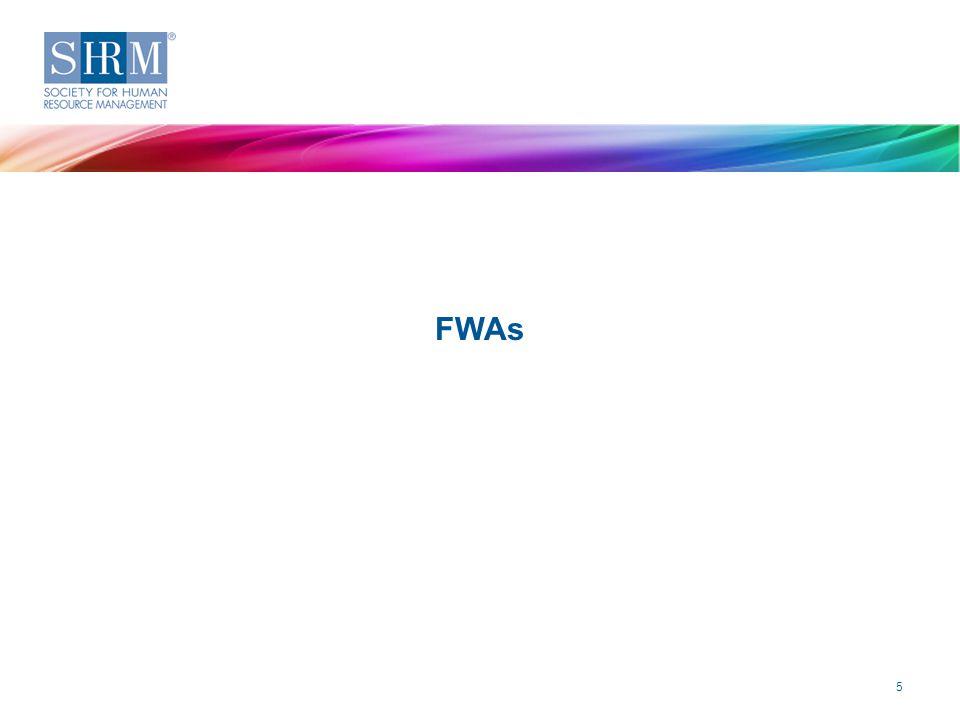 2014 Strategic Benefits Survey—Flexible Work Arrangements ©SHRM 2015 Key Findings FWAs 5