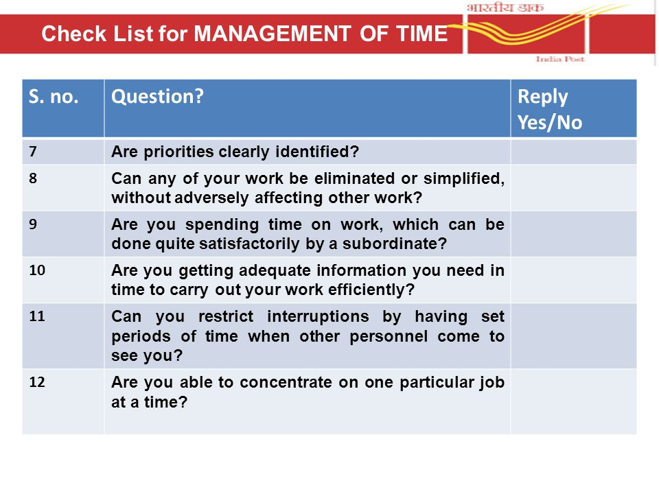 S. no.Question Reply Yes/No 7 Are priorities clearly identified.