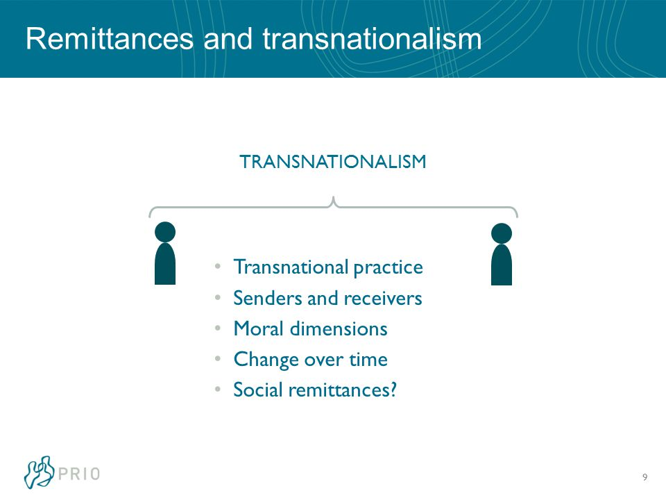 9 Remittances and transnationalism TRANSNATIONALISM Transnational practice Senders and receivers Moral dimensions Change over time Social remittances?