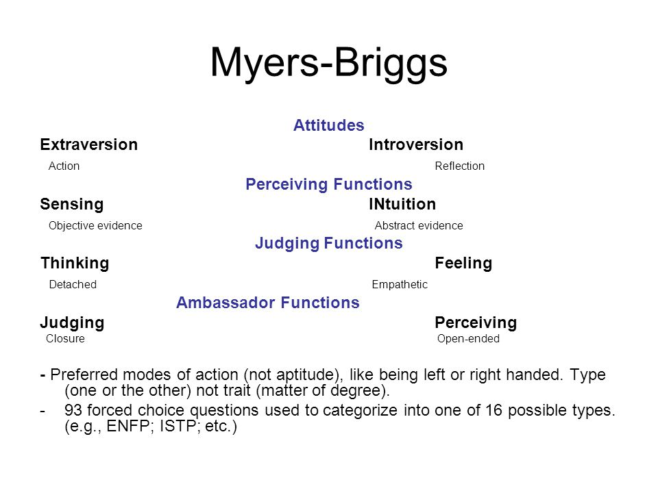 Myers-Briggs Attitudes ExtraversionIntroversion Action Reflection Perceiving Functions SensingINtuition Objective evidence Abstract evidence Judging Functions Thinking Feeling Detached Empathetic Ambassador Functions Judging Perceiving Closure Open-ended - Preferred modes of action (not aptitude), like being left or right handed.