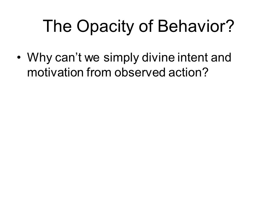 The Opacity of Behavior Why can't we simply divine intent and motivation from observed action