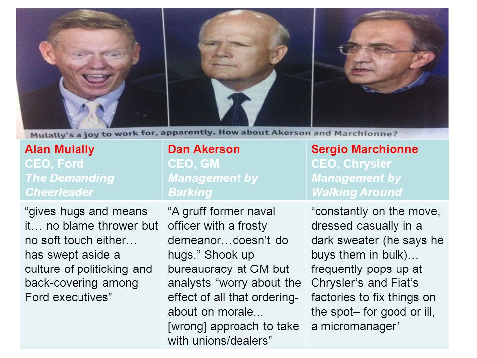 Alan Mulally CEO, Ford The Demanding Cheerleader Dan Akerson CEO, GM Management by Barking Sergio Marchionne CEO, Chrysler Management by Walking Aroun