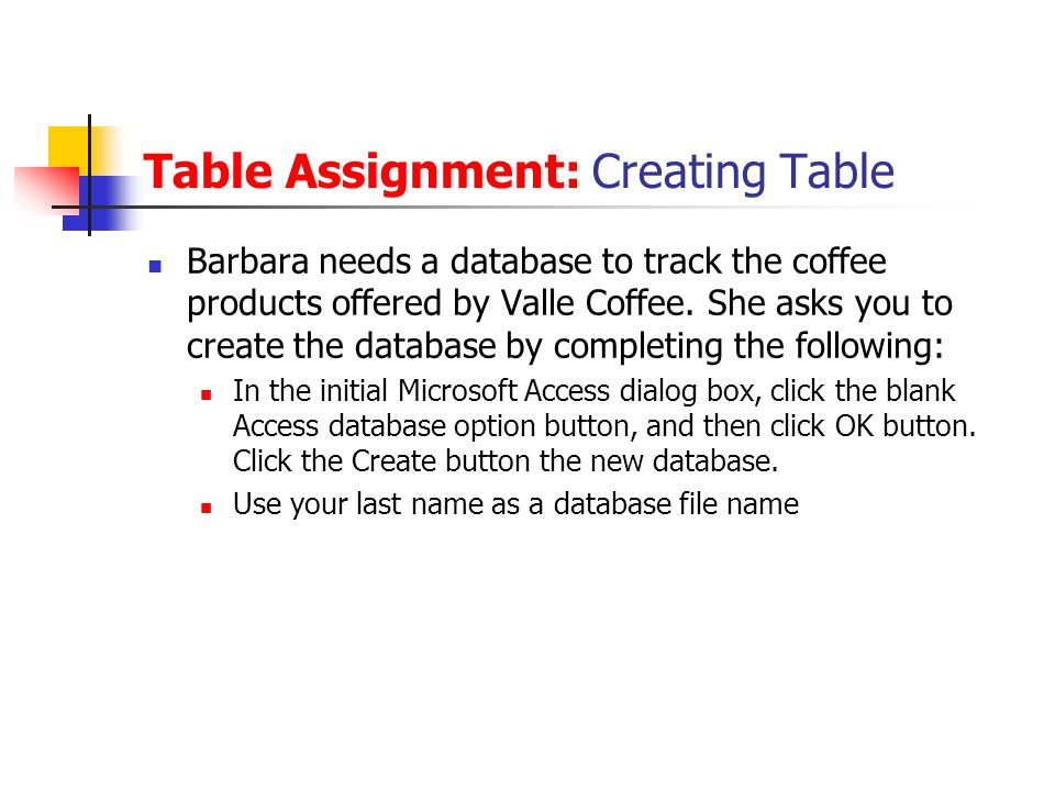 Table Assignment: Creating Table Barbara needs a database to track the coffee products offered by Valle Coffee. She asks you to create the database by