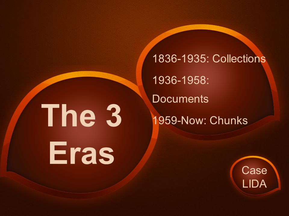 1836-1935: Collections 1936-1958: Documents 1959-Now: Chunks The 3 Eras Case LIDA