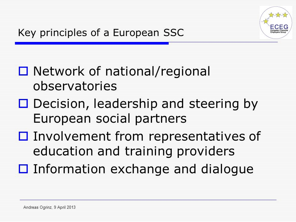 Andreas Ogrinz, 9 April 2013 Key principles of a European SSC  Network of national/regional observatories  Decision, leadership and steering by Euro