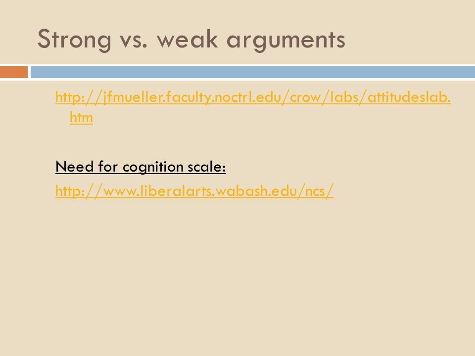 Strong vs.weak arguments http://jfmueller.faculty.noctrl.edu/crow/labs/attitudeslab.