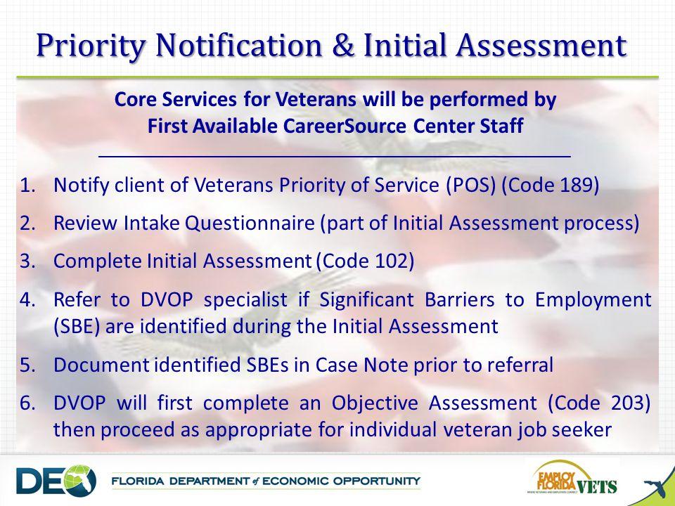 SBE Categories for DVOP Assistance 1.
