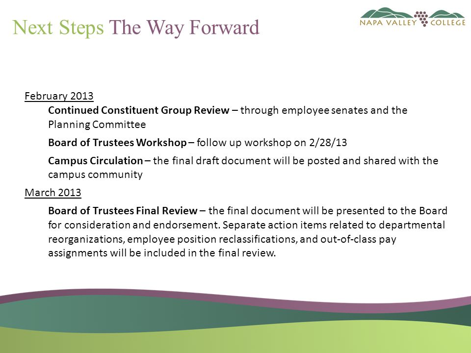 Next Steps The Way Forward February 2013 Continued Constituent Group Review – through employee senates and the Planning Committee Board of Trustees Workshop – follow up workshop on 2/28/13 Campus Circulation – the final draft document will be posted and shared with the campus community March 2013 Board of Trustees Final Review – the final document will be presented to the Board for consideration and endorsement.
