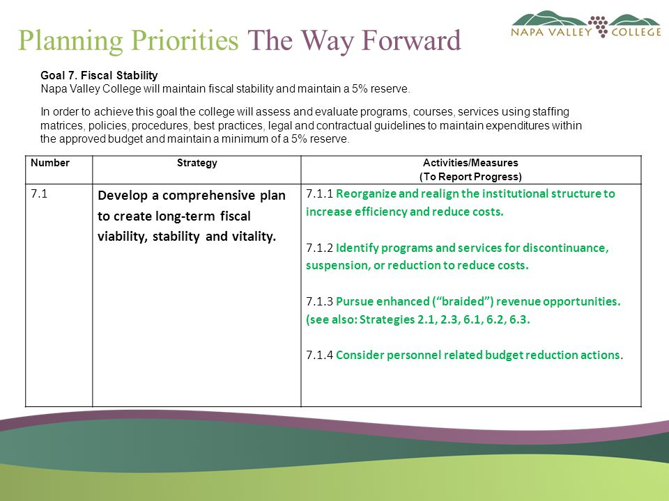 Planning Priorities The Way Forward NumberStrategy Activities/Measures (To Report Progress) 7.1 Develop a comprehensive plan to create long-term fiscal viability, stability and vitality.