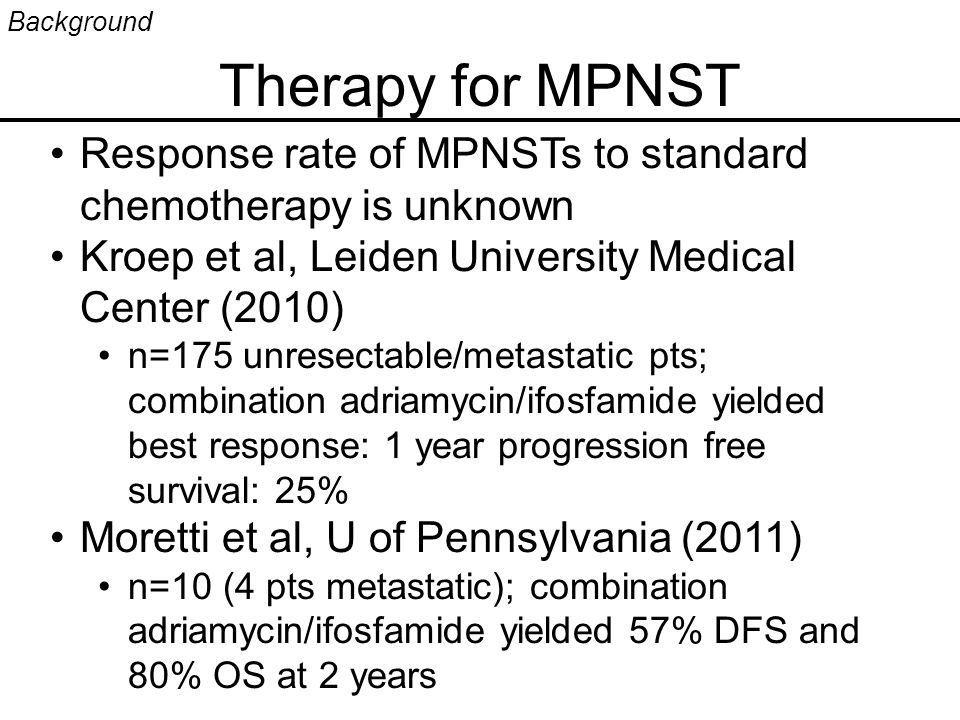 Therapy for MPNST Background Response rate of MPNSTs to standard chemotherapy is unknown Kroep et al, Leiden University Medical Center (2010) n=175 unresectable/metastatic pts; combination adriamycin/ifosfamide yielded best response: 1 year progression free survival: 25% Moretti et al, U of Pennsylvania (2011) n=10 (4 pts metastatic); combination adriamycin/ifosfamide yielded 57% DFS and 80% OS at 2 years