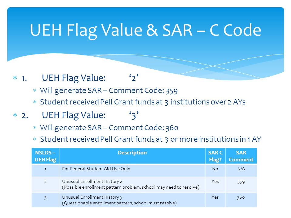  1.UEH Flag Value: '2'  Will generate SAR – Comment Code: 359  Student received Pell Grant funds at 3 institutions over 2 AYs  2.UEH Flag Value:'3'  Will generate SAR – Comment Code: 360  Student received Pell Grant funds at 3 or more institutions in 1 AY UEH Flag Value & SAR – C Code NSLDS – UEH Flag DescriptionSAR C Flag.