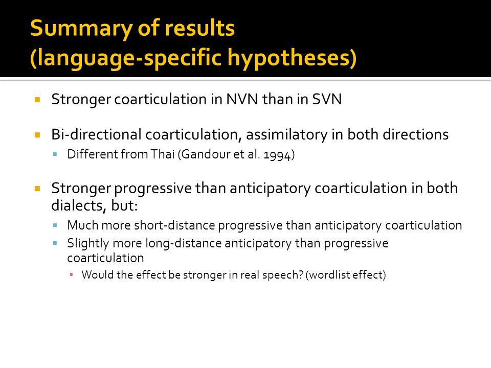 Strength of coarticulation (in F values) NVN SVN AnticipatoryProgressive