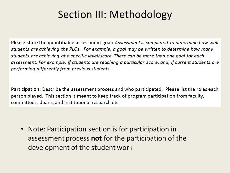 Note: Participation section is for participation in assessment process not for the participation of the development of the student work