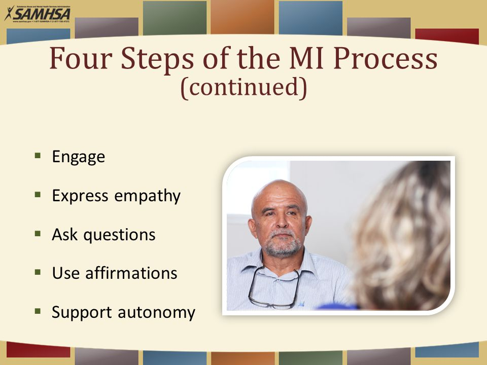 Four Steps of the MI Process (continued)  Engage  Express empathy  Ask questions  Use affirmations  Support autonomy