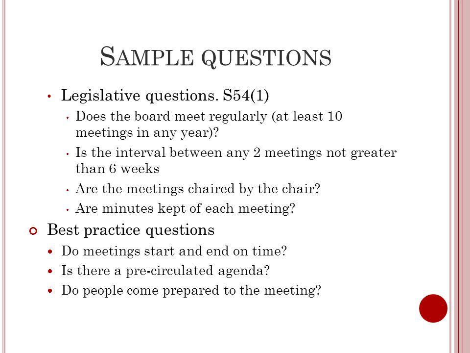 S AMPLE QUESTIONS Legislative questions.