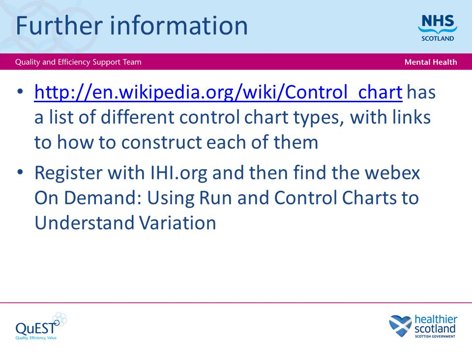 Further information http://en.wikipedia.org/wiki/Control_chart has a list of different control chart types, with links to how to construct each of them http://en.wikipedia.org/wiki/Control_chart Register with IHI.org and then find the webex On Demand: Using Run and Control Charts to Understand Variation