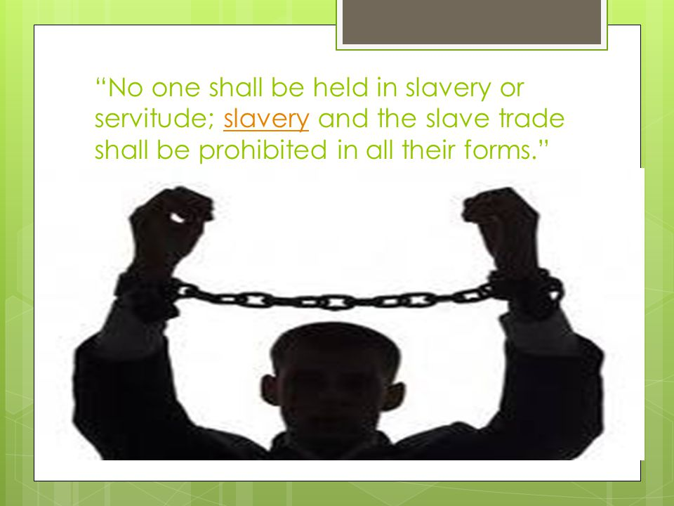 No one shall be held in slavery or servitude; slavery and the slave trade shall be prohibited in all their forms. slavery