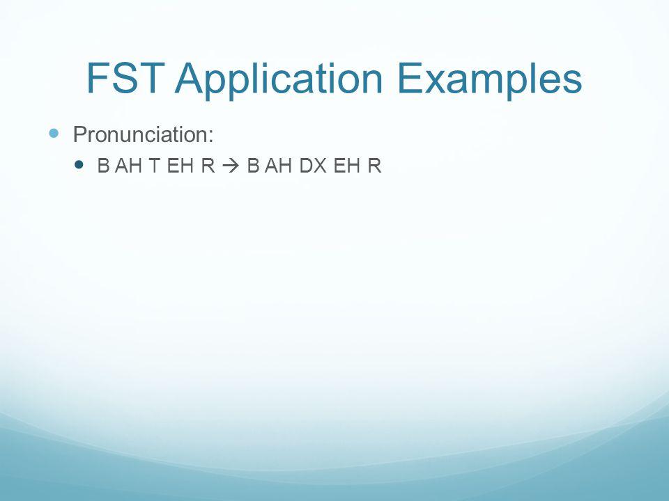 FST Application Examples Pronunciation: B AH T EH R  B AH DX EH R