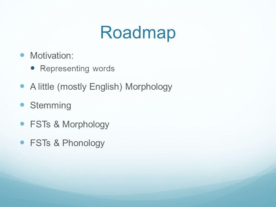 Roadmap Motivation: Representing words A little (mostly English) Morphology Stemming FSTs & Morphology FSTs & Phonology