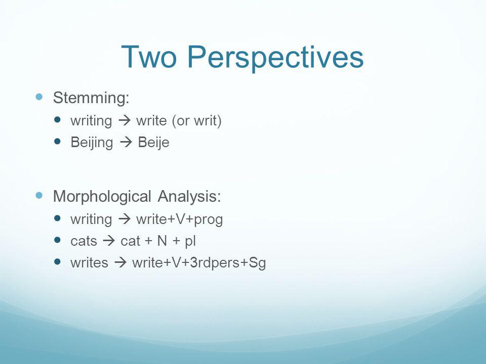 Two Perspectives Stemming: writing  write (or writ) Beijing  Beije Morphological Analysis: writing  write+V+prog cats  cat + N + pl writes  write