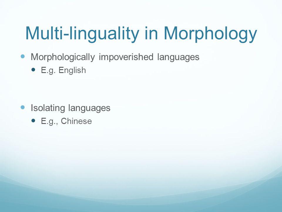 Multi-linguality in Morphology Morphologically impoverished languages E.g. English Isolating languages E.g., Chinese