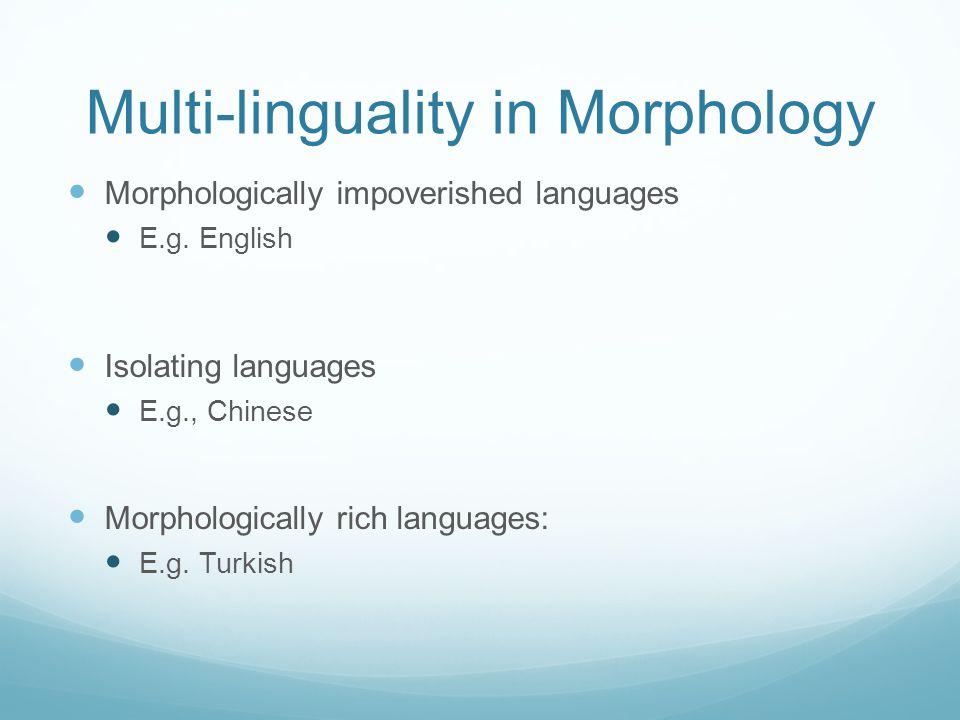 Multi-linguality in Morphology Morphologically impoverished languages E.g. English Isolating languages E.g., Chinese Morphologically rich languages: E