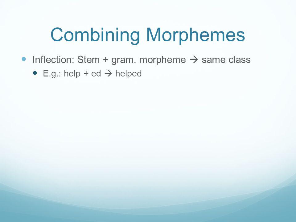 Combining Morphemes Inflection: Stem + gram. morpheme  same class E.g.: help + ed  helped