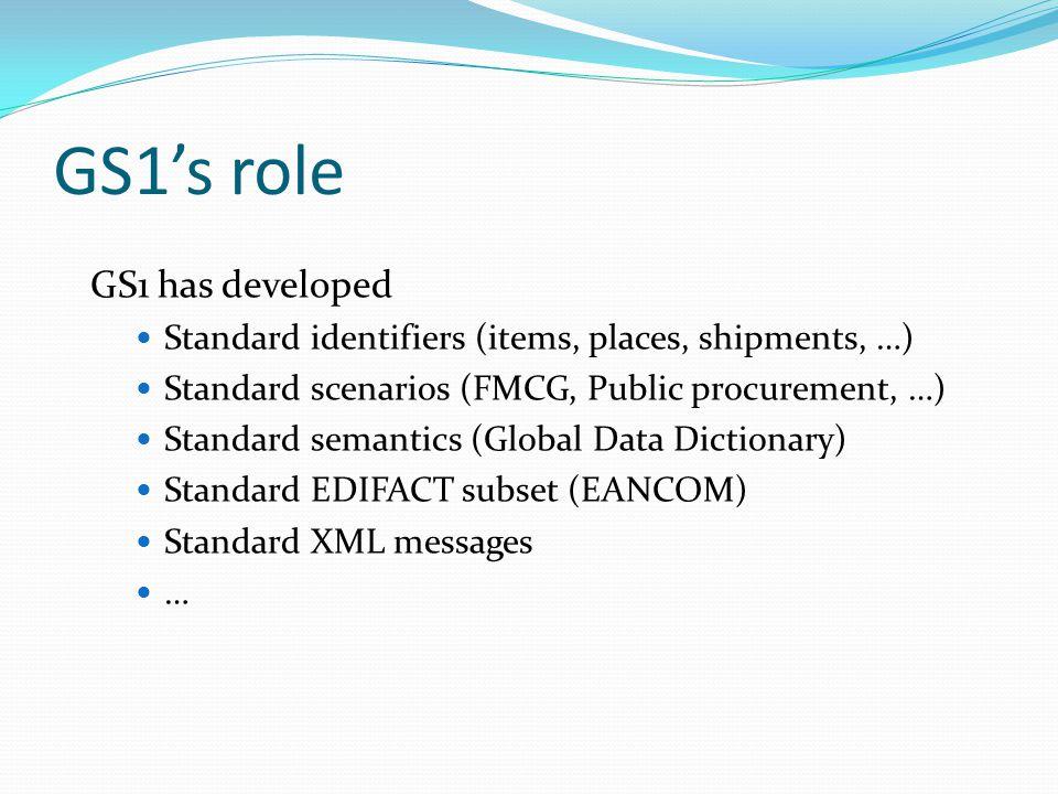 GS1's role GS1 has developed Standard identifiers (items, places, shipments, …) Standard scenarios (FMCG, Public procurement, …) Standard semantics (Global Data Dictionary) Standard EDIFACT subset (EANCOM) Standard XML messages …