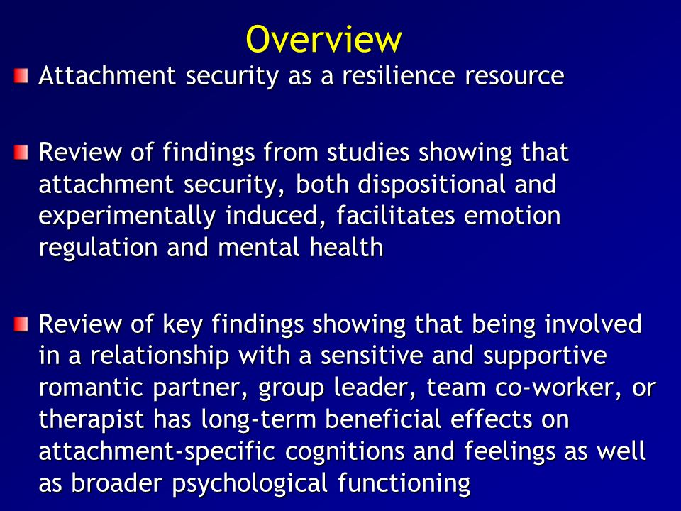 Security priming and positive affect In several studies, we compared effects of security primes with effects of emotionally positive but non-attachment- related primes (e.g., money, success, humor) or emotionally neutral primes We consistently found that priming attachment security improves participants' moods (Mikulincer & Shaver, 2001; Mikulincer, Gillath, et al., 2001, 2003; Mikulincer, Shaver, Gillath, & Nitzberg, 2005) We also found that security priming infuses formerly neutral symbols (e.g., Chinese ideographs) with positive affect (Mikulincer, Hirschberger, et al., 2001) This happens even under threatening conditions, and eliminates the detrimental effects that threats otherwise have on liking for previously neutral stimuli