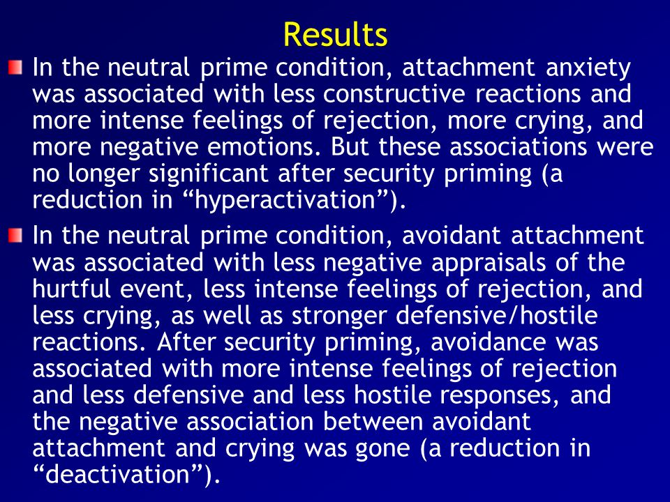 Results In the neutral prime condition, attachment anxiety was associated with less constructive reactions and more intense feelings of rejection, mor