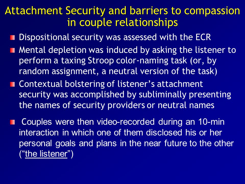 Dispositional security was assessed with the ECR Mental depletion was induced by asking the listener to perform a taxing Stroop color-naming task (or,