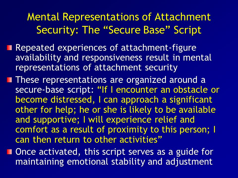Findings: Staff members serving as a secure base contributed to positive changes in emotional and behavioral adjustment across the four waves of measurement and weakened the detrimental effects of adolescents' baseline attachment insecurities Adolescents who formed more secure attachment bonds with staff members had lower rates of anger, depression, and behavioral problems as well as higher rates of positive feelings across the study period