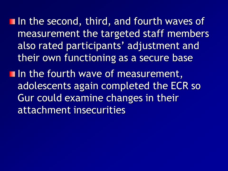 In the second, third, and fourth waves of measurement the targeted staff members also rated participants' adjustment and their own functioning as a se