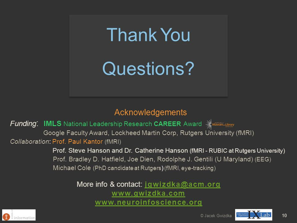 10 Acknowledgements Funding : IMLS National Leadership Research CAREER Award Google Faculty Award, Lockheed Martin Corp, Rutgers University (fMRI) Col