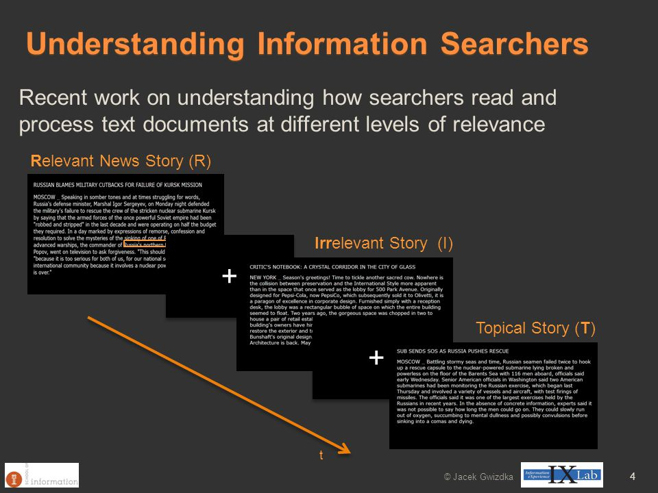 Understanding Information Searchers Recent work on understanding how searchers read and process text documents at different levels of relevance Relevant News Story (R) Irrelevant Story (I) + + + + Topical Story (T) t © Jacek Gwizdka 4