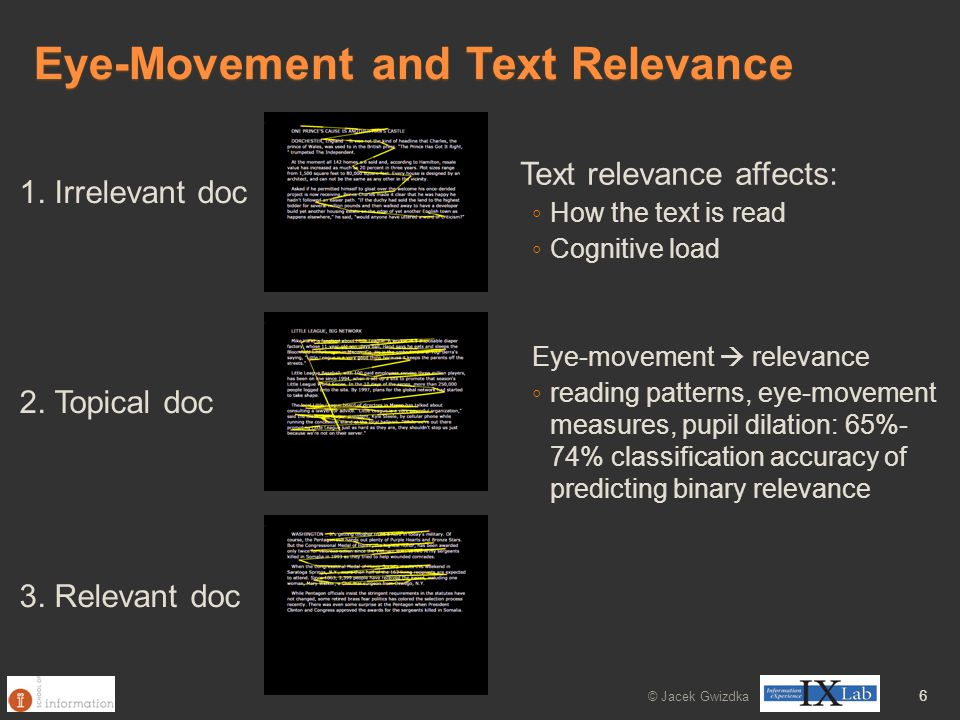 Eye-Movement and Text Relevance © Jacek Gwizdka 6 1. Irrelevant doc 2. Topical doc 3. Relevant doc Text relevance affects: ◦ How the text is read ◦ Co