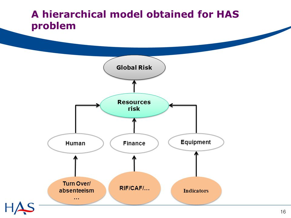 Global Risk Resources risk HumanFinance Equipment Turn Over/ absenteeism … Turn Over/ absenteeism … RIF/CAF/… Indicators A hierarchical model obtained for HAS problem 16