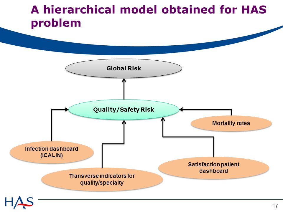 Global Risk Quality/Safety Risk Infection dashboard (ICALIN) Satisfaction patient dashboard Transverse indicators for quality/specialty Mortality rates A hierarchical model obtained for HAS problem 17
