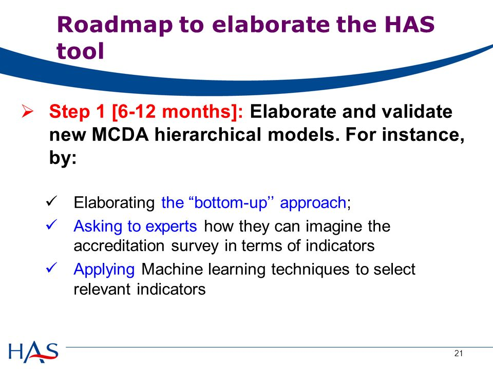 Roadmap to elaborate the HAS tool  Step 1 [6-12 months]: Elaborate and validate new MCDA hierarchical models.