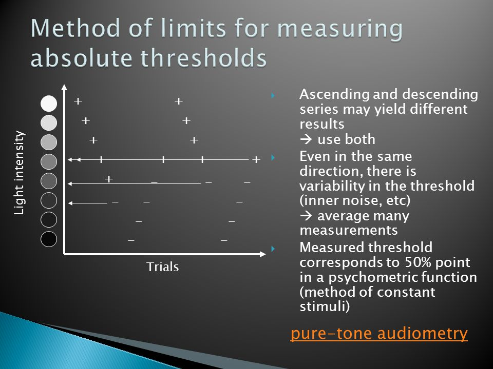 Ascending and descending series may yield different results  use both  Even in the same direction, there is variability in the threshold (inner noise, etc)  average many measurements  Measured threshold corresponds to 50% point in a psychometric function (method of constant stimuli) + - + + + + + - - - - - + + + + + - - - - Light intensity Trials pure-tone audiometry