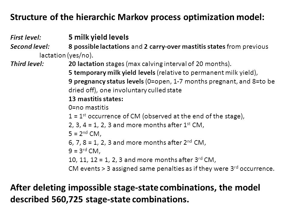 Structure of the hierarchic Markov process optimization model: First level: 5 milk yield levels Second level:8 possible lactations and 2 carry-over mastitis states from previous lactation (yes/no).