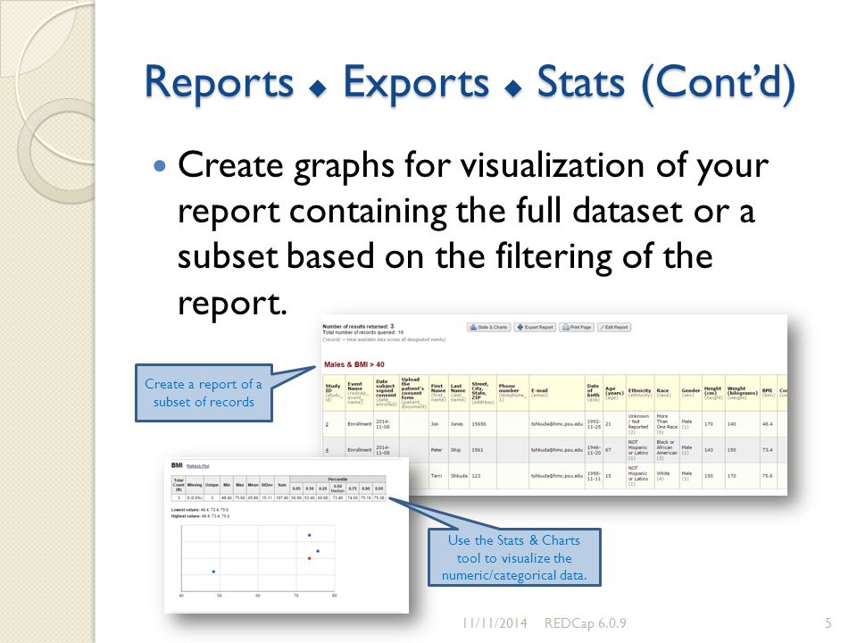 Reports  Exports  Stats (Cont'd) Create graphs for visualization of your report containing the full dataset or a subset based on the filtering of th