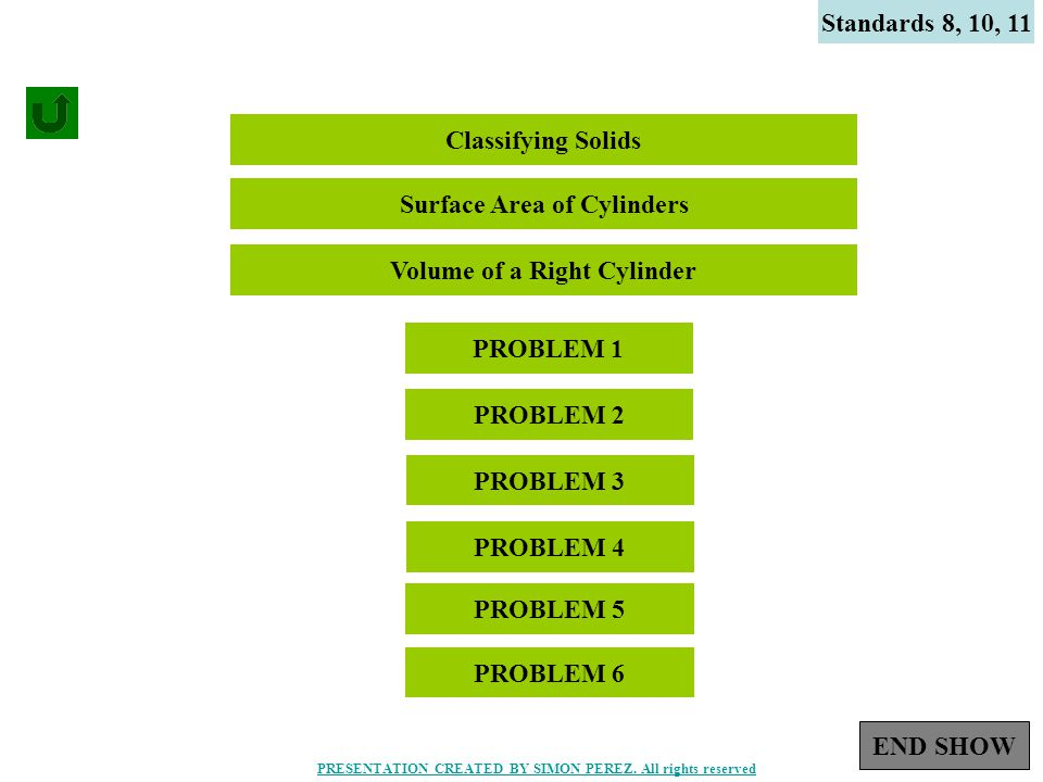 1 Standards 8, 10, 11 Classifying Solids PROBLEM 1 PROBLEM 2 Surface Area of Cylinders Volume of a Right Cylinder PROBLEM 3 PROBLEM 4 PROBLEM 5 PROBLEM 6 END SHOW PRESENTATION CREATED BY SIMON PEREZ.