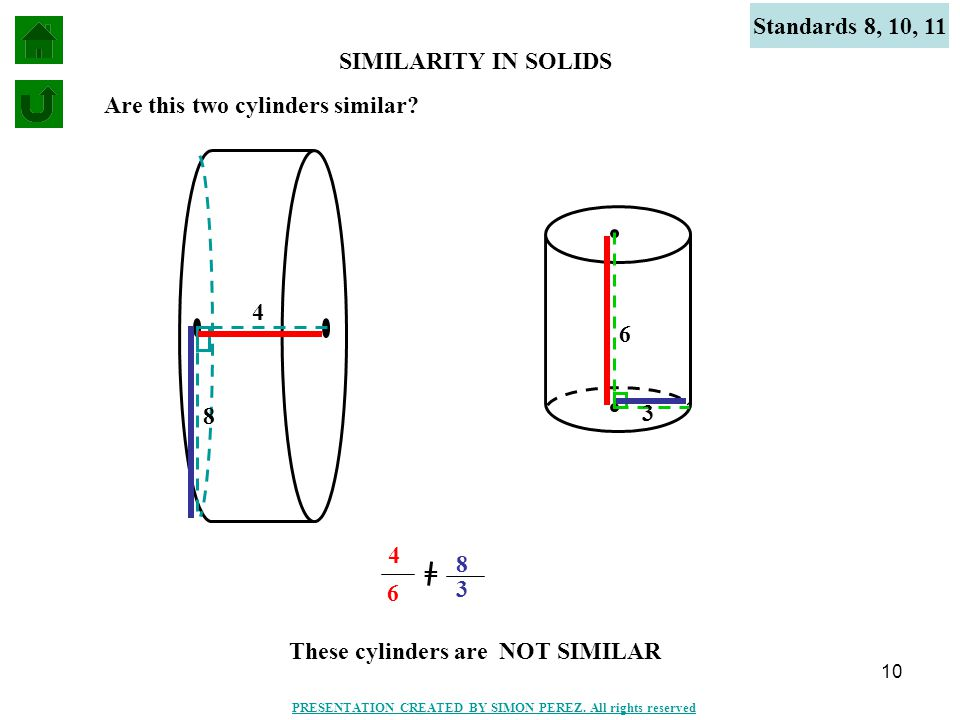 10 6 3 SIMILARITY IN SOLIDS Standards 8, 10, 11 4 8 Are this two cylinders similar? These cylinders are NOT SIMILAR = 4 6 8 3 PRESENTATION CREATED BY