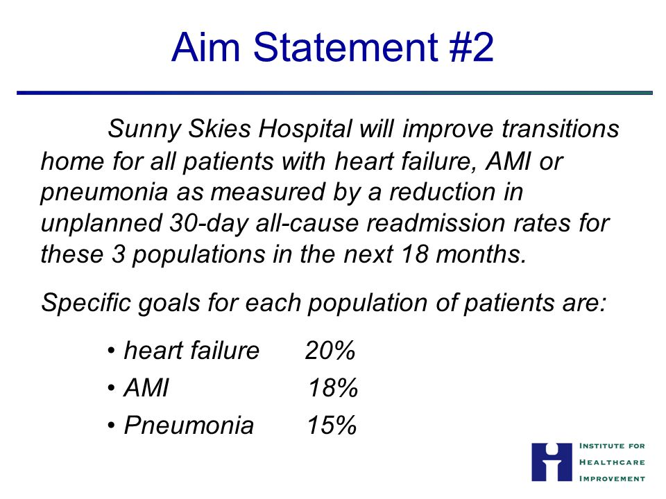 Aim Statement #2 Sunny Skies Hospital will improve transitions home for all patients with heart failure, AMI or pneumonia as measured by a reduction i