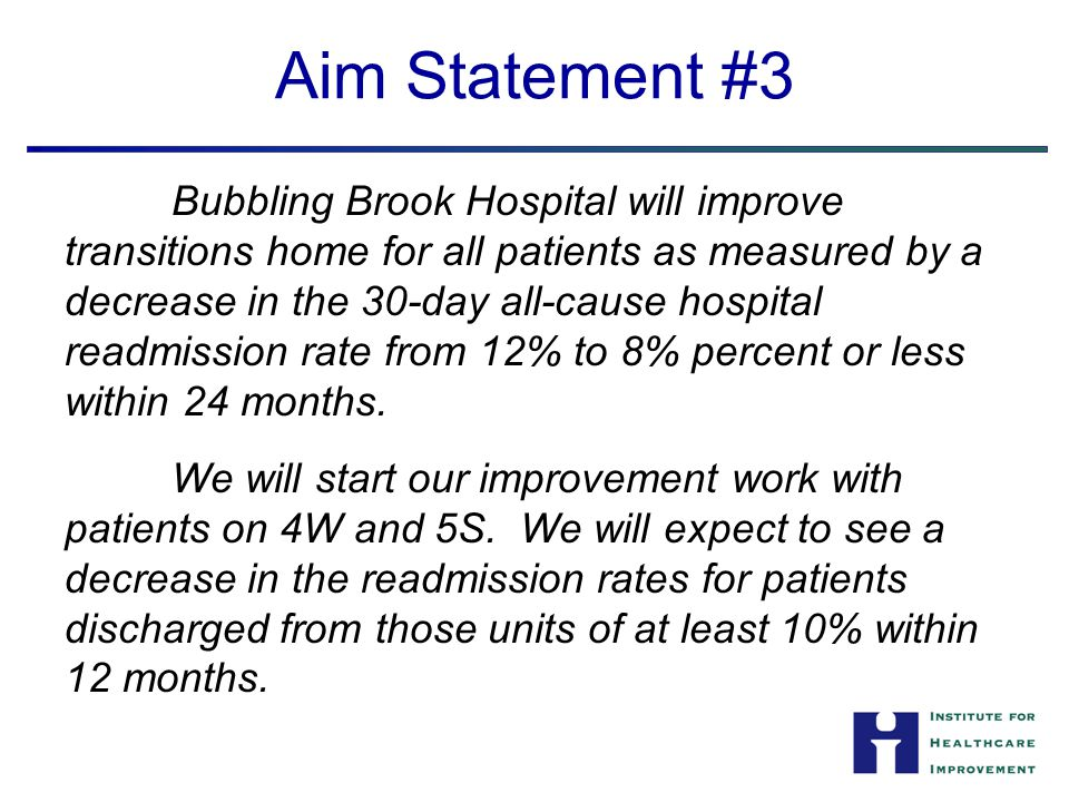 Aim Statement #3 Bubbling Brook Hospital will improve transitions home for all patients as measured by a decrease in the 30-day all-cause hospital rea
