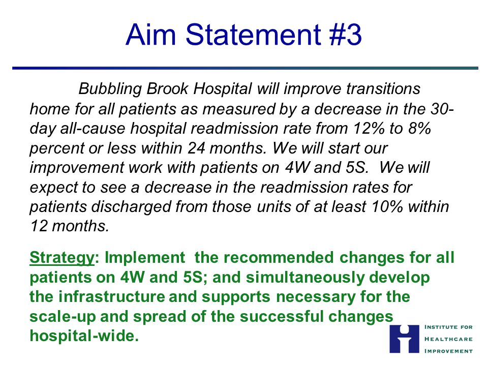 Aim Statement #3 Bubbling Brook Hospital will improve transitions home for all patients as measured by a decrease in the 30- day all-cause hospital re