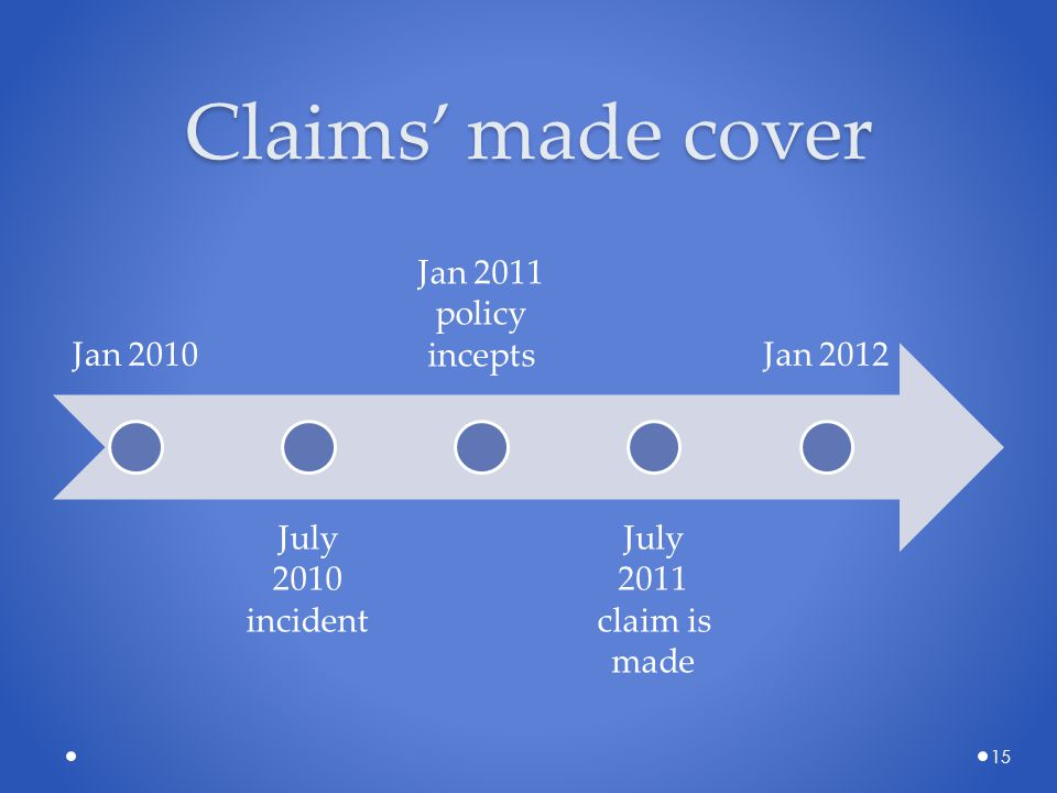 Claims' made cover Jan 2010 July 2010 incident Jan 2011 policy incepts July 2011 claim is made Jan 2012 15